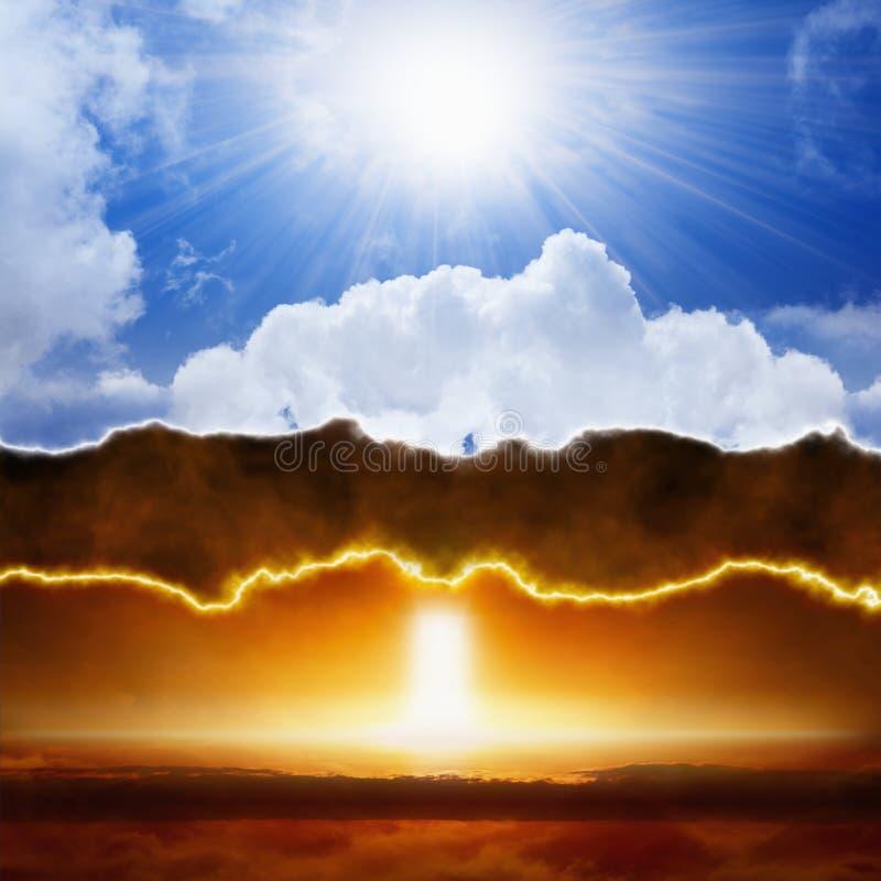 Niebo i piekło dobrzy vs zło, światło vs ciemność zdjęcia stock
