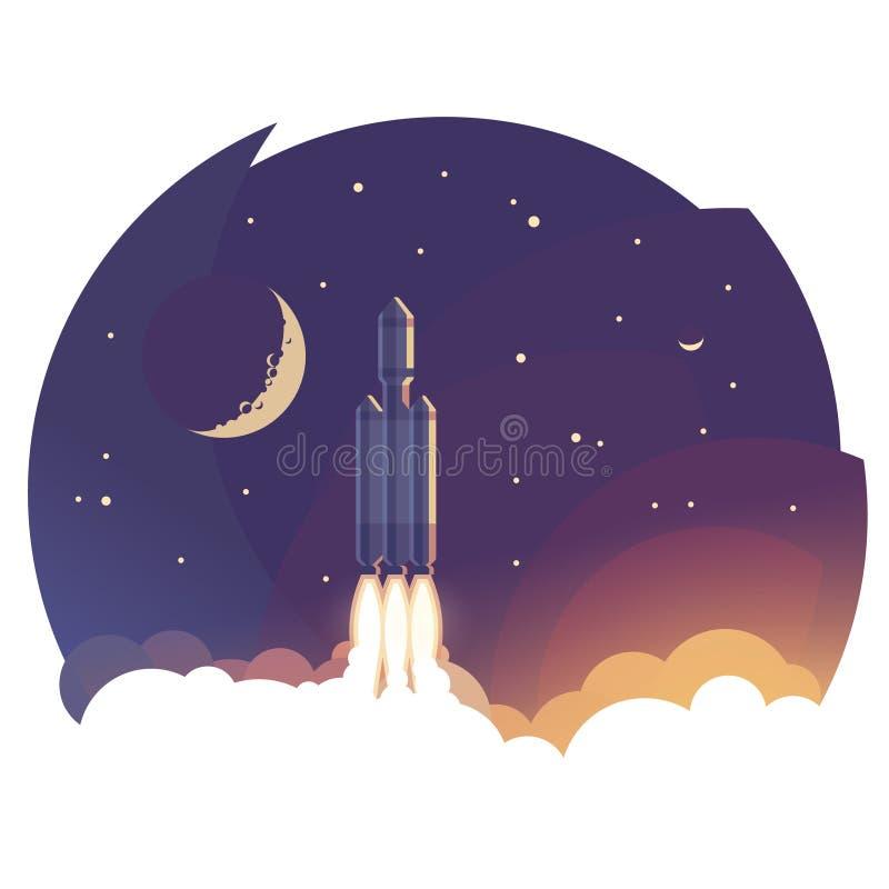 Niebo Ilustracja Rakietowy wodowanie/lata above chmury ilustracja wektor
