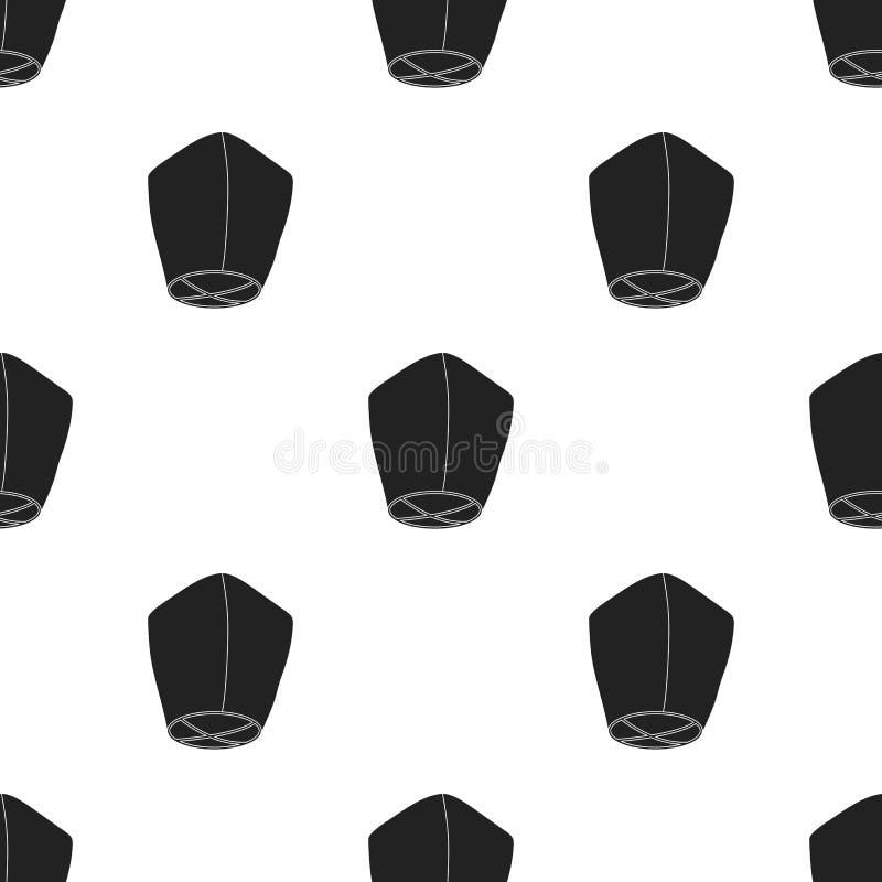 Niebo latarniowa ikona w czerń stylu odizolowywającym na białym tle Źródło światła wzoru zapasu wektoru ilustracja ilustracji