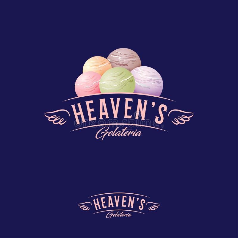 Niebo lody dom, gelateria logo Listy i miarki lody Logotyp z anielskimi skrzydłami ilustracji