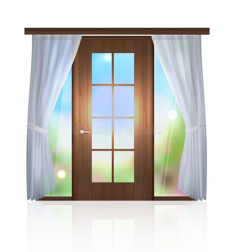niebo otwarte drzwi do nieba wewnętrzny pokój ilustracja wektor