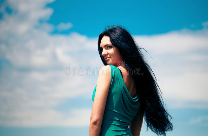 niebo piękna kobieta zdjęcie stock