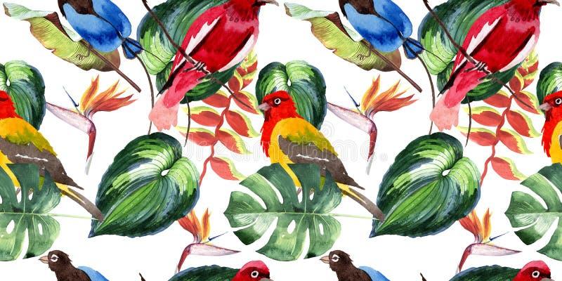 Niebo ptaki raju wzór w przyrodzie akwarelą projektują royalty ilustracja