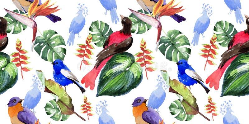 Niebo ptaki raju wzór w przyrodzie akwarelą projektują ilustracji