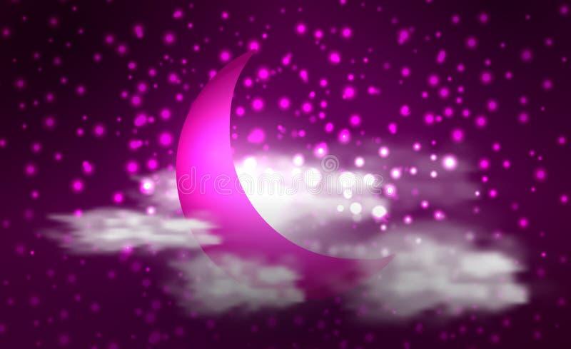 Niebo z gwiazdami i księżyc Mistyczna ilustracja ilustracja wektor