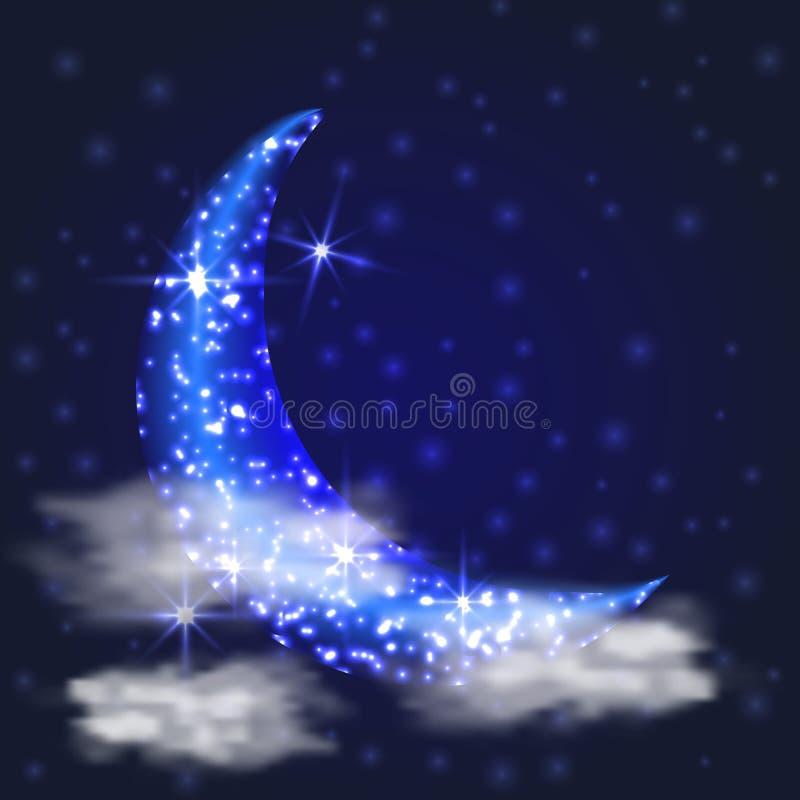 Niebo z gwiazdami i ksi??yc Mistyczna ilustracja ilustracja wektor