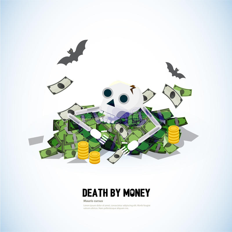 Nieboszczyk z pieniądze czaszki i pieniądze bank - royalty ilustracja