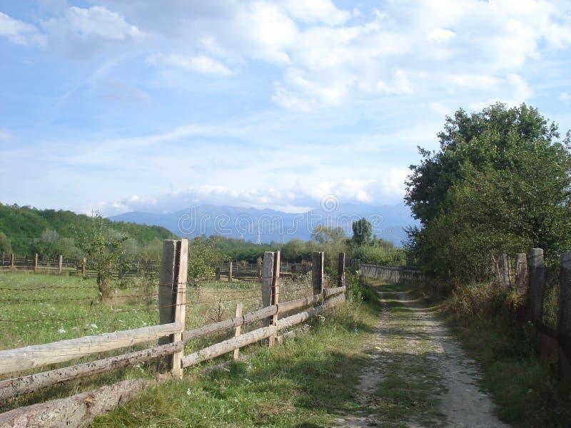 Niebrukowana droga w marginesie wioska zdjęcie stock