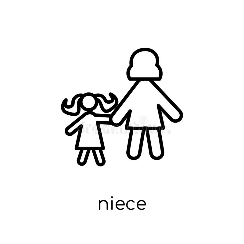 niece icon. Trendy modern flat linear vector niece icon on white vector illustration
