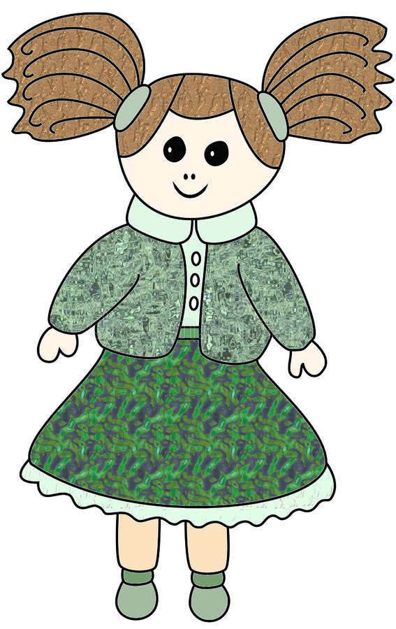 Lalka, A doll in green skirt and wool sweater. vector illustration