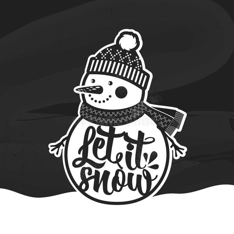 niech śnieg Bożenarodzeniowy retro plakat z bałwanem Ten ilustracja może używać jako kartka z pozdrowieniami, plakat lub druk, ilustracja wektor