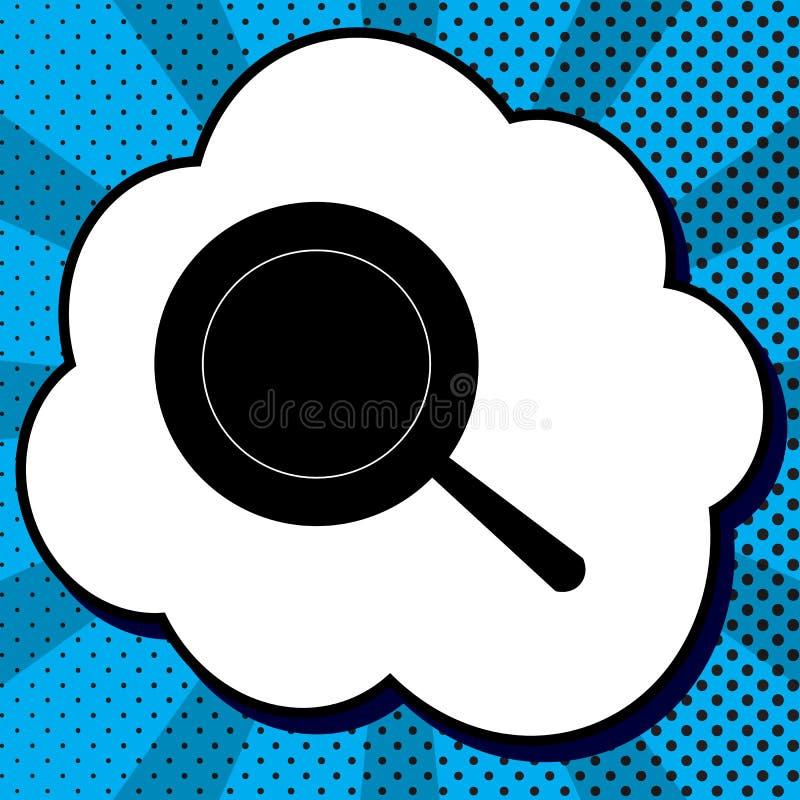 Niecka znak wektor Czarna ikona w bąblu na błękitnym sztuki backgroun royalty ilustracja