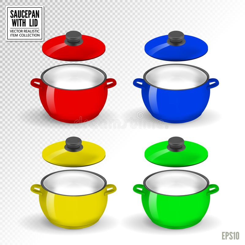Niecki cookware dla kulinarny ilustracyjnego ustawiającego dishware garnek odizolowywający dalej lub ilustracji