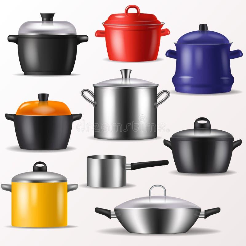 Niecki cookware dla kulinarny ilustracyjnego ustawiającego lub i lub royalty ilustracja
