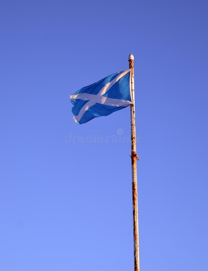 Nieco postrzępiona Szkocka flaga na ośniedziałym flagpole zdjęcia stock