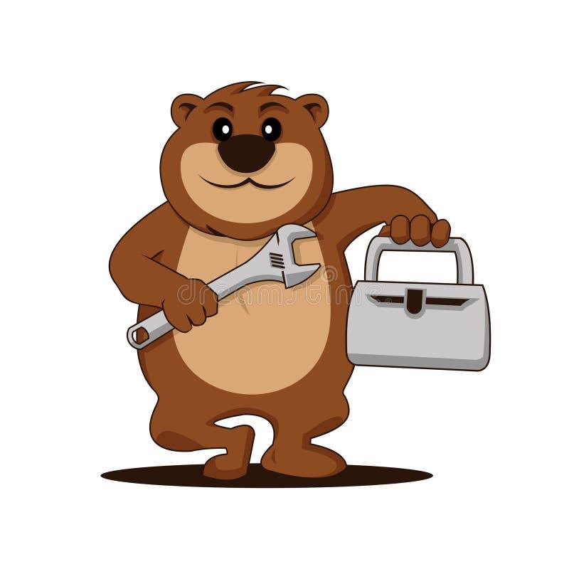 Niedźwiadkowy mechanik z wyrwania narzędzia kreskówki maskotki ilustracją ilustracji