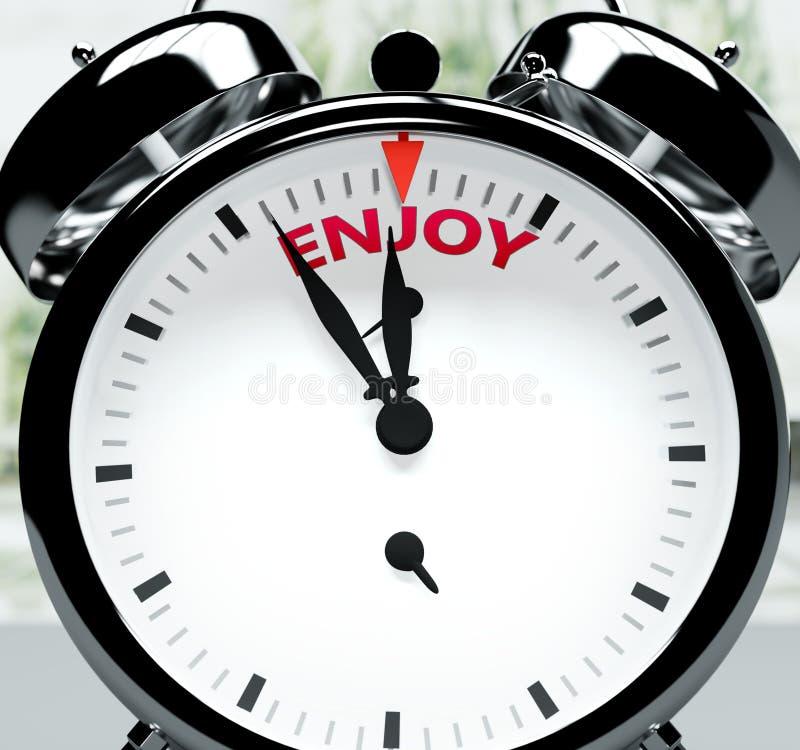 Niedługo, prawie tam, w krótkim czasie - zegar symbolizuje przypomnienie, że Enjoy jest blisko, wydarzy się i szybko skończy w ilustracja wektor