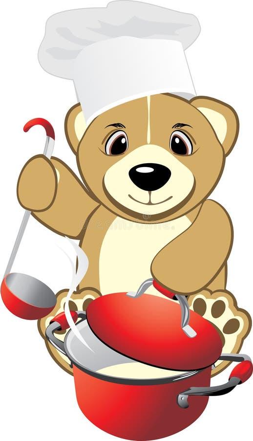 niedźwiadka kucharz je zaprasza owsiankę ilustracji