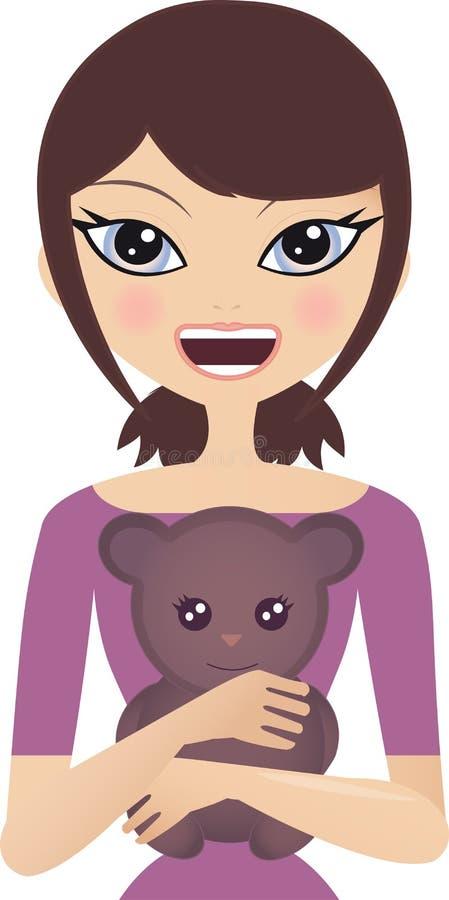 niedźwiadkowa śliczna przytulenia miś pluszowy kobieta ilustracji