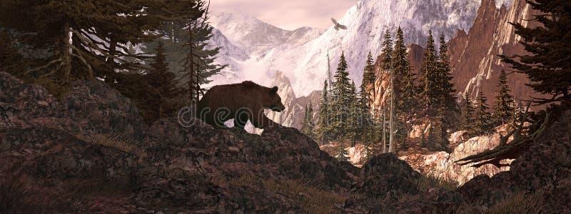 niedźwiadkowa grizzly punkt obserwacyjny sylwetka royalty ilustracja