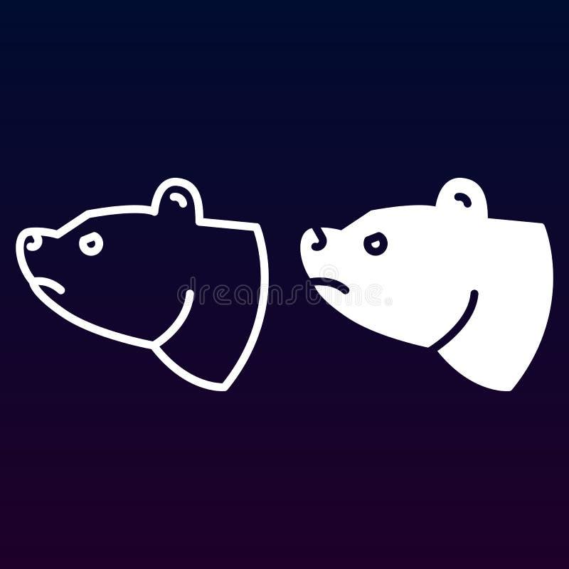 Niedźwiadkowa kierownicza linia, bryły ikona, kontur i piktogram odizolowywający na bielu, wypełniający wektoru znaka, liniowego  ilustracja wektor