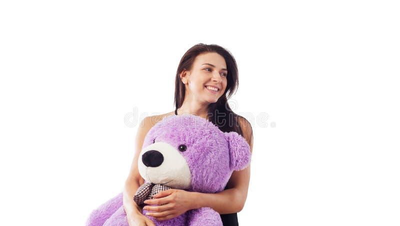 niedźwiadkowa przytulenia miś pluszowy kobieta zdjęcia stock