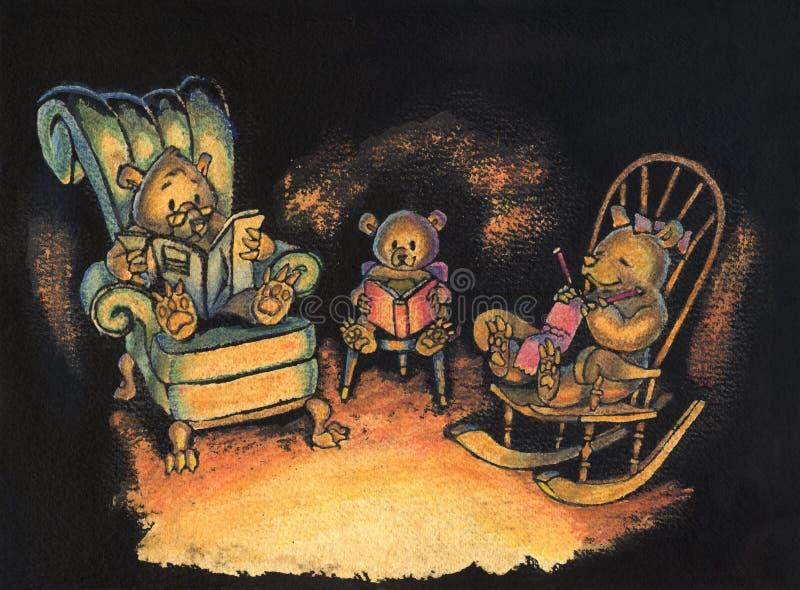 Niedźwiadkowa Rodzinna obsiadania wpólnie ilustracja ilustracji