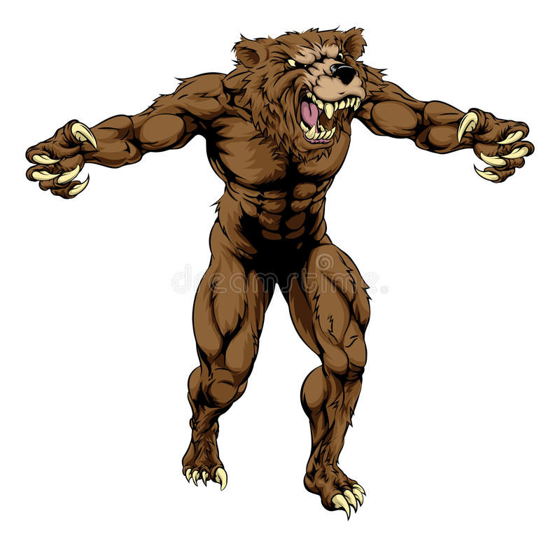 Niedźwiadkowa straszna sport maskotka royalty ilustracja