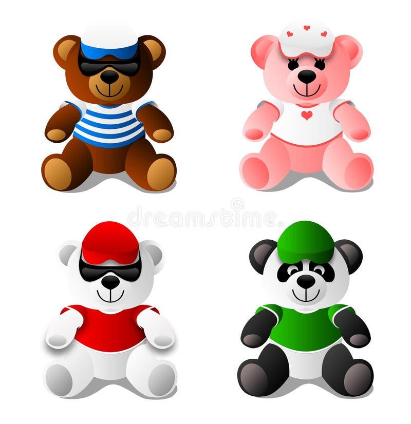 niedźwiadkowe pandy miś pluszowy zabawki ilustracja wektor