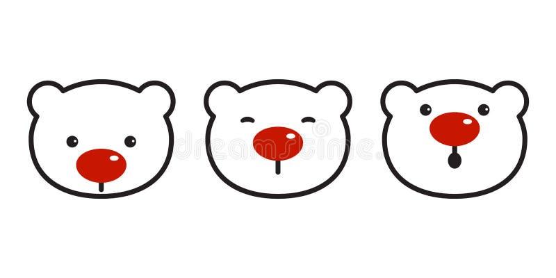 Niedźwiadkowego wektorowego niedźwiedzi polarnych bożych narodzeń ikony loga nosa symbolu kreskówki czerwona ilustracja royalty ilustracja
