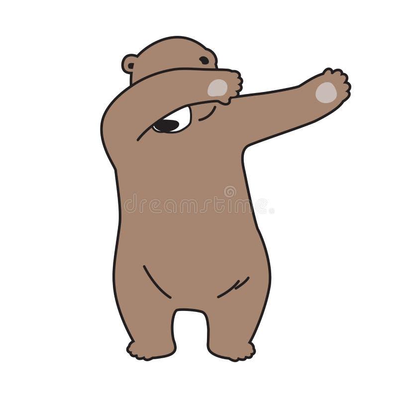 Niedźwiadkowego wektorowego niedźwiedzia polarnego loga ikony odrobiny tana charakteru ilustracyjna kreskówka royalty ilustracja