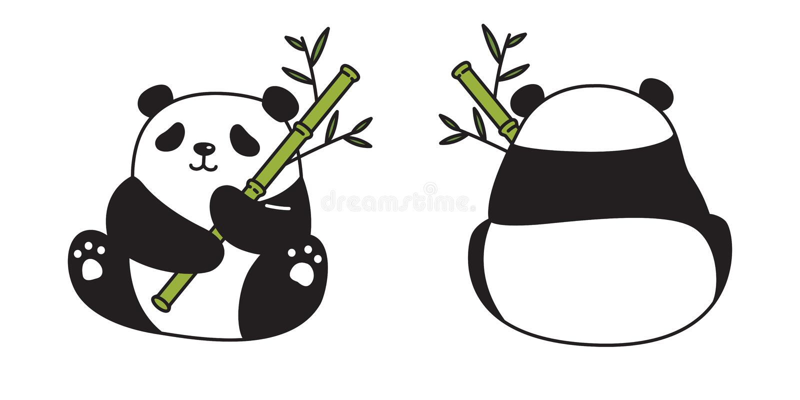 Niedźwiadkowego wektorowego pandy ikony niedźwiedzia polarnego logo misia pluszowego postaci z kreskówki bambusowego karmowego sy ilustracja wektor