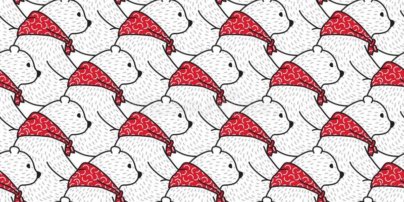 Niedźwiadkowej bezszwowej deseniowej wektorowej niedźwiedź polarny pandy czerwony szalik odizolowywał tło tapetę ilustracja wektor