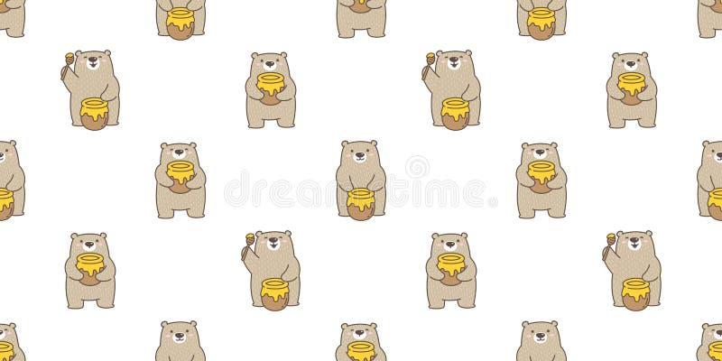Niedźwiadkowej bezszwowej deseniowej wektorowej niedźwiedź polarny pszczoły kreskówki ilustracji płytki tła miodowej powtórki tap ilustracji