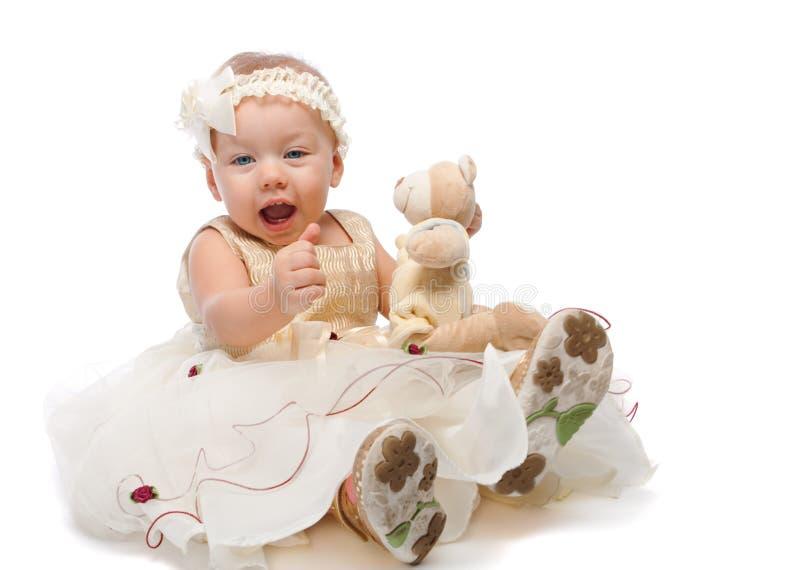 niedźwiadkowej dziewczyny radosny miś pluszowy obrazy royalty free