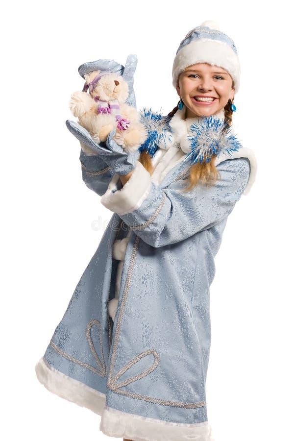 niedźwiadkowej dziewczyny uśmiechnięta śniegu zabawka obraz stock