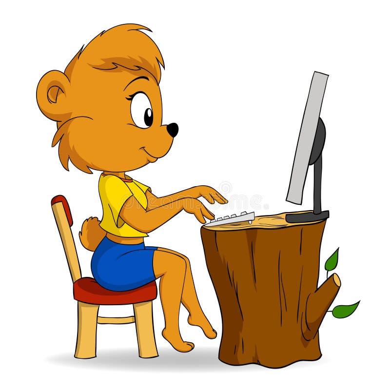 niedźwiadkowej kreskówki komputerowy śliczny żeński pisać na maszynie royalty ilustracja
