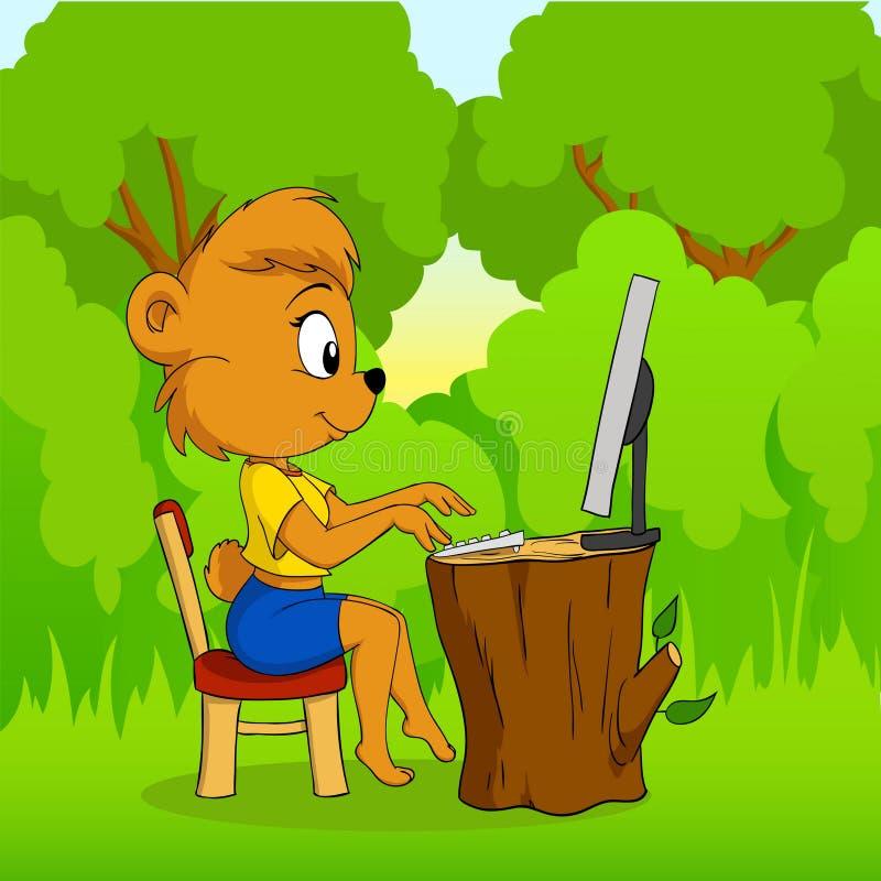 niedźwiadkowej kreskówki komputerowy śliczny lasowy pisać na maszynie ilustracja wektor