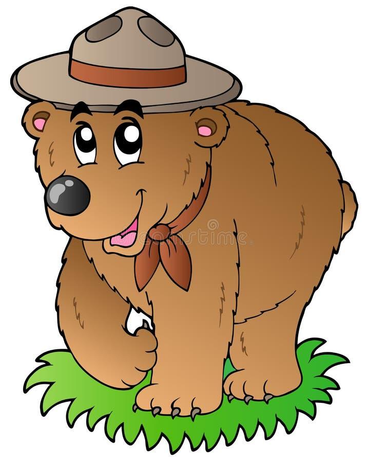 niedźwiadkowej kreskówki szczęśliwy harcerz ilustracja wektor