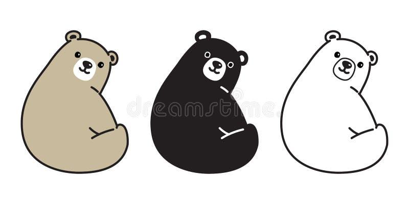Niedźwiadkowej wektorowej niedźwiedź polarny ikony logo uśmiechu siedzącej postaci z kreskówki ilustracyjny doodle ilustracja wektor