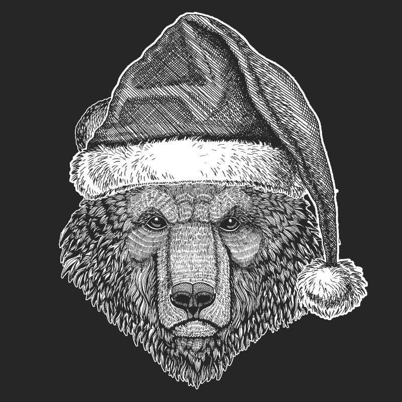 Niedźwiadkowi boże narodzenia, nowego roku świętowanie Święty Mikołaj zimy kapelusz Xmas pióropusz royalty ilustracja