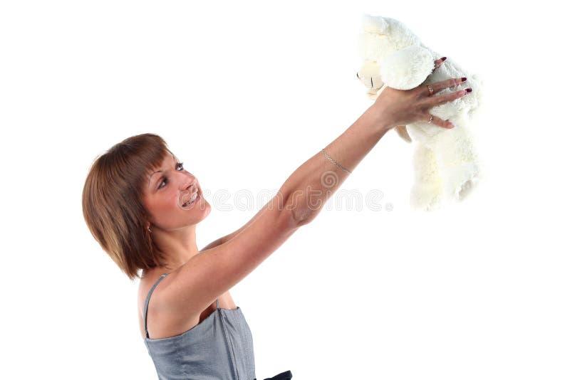 niedźwiadkowi miś pluszowy kobiety potomstwa zdjęcia stock