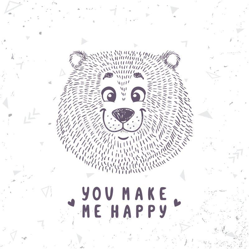 Niedźwiadkowy śliczny doodle royalty ilustracja