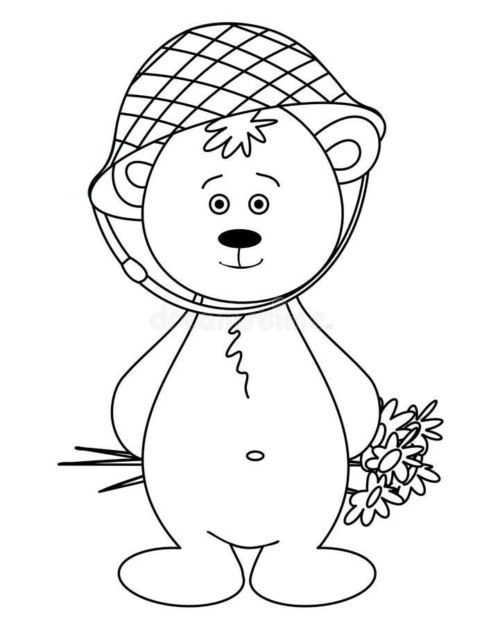 niedźwiadkowy bukieta lisiątka hełma monochrom ilustracja wektor