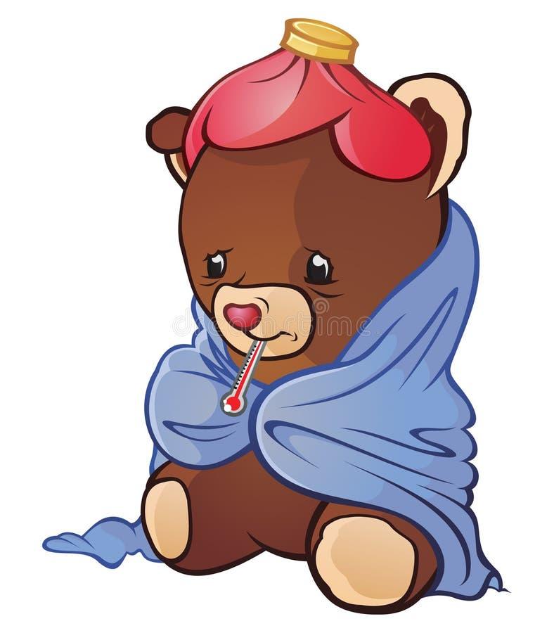 niedźwiadkowy chory miś pluszowy ilustracja wektor