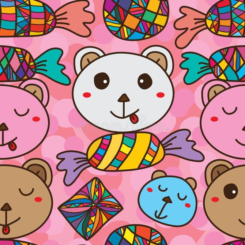 Niedźwiadkowy cukierek jak bezszwowy wzór ilustracja wektor