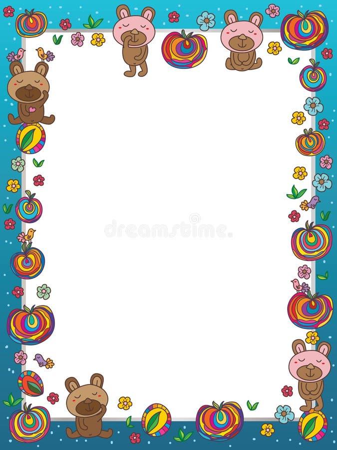 Niedźwiadkowy cukrowego cukierku ramy szablon ilustracja wektor