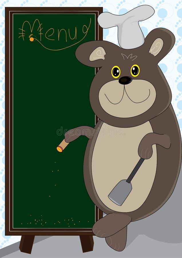niedźwiadkowy deskowy kucharstwa eps menu ilustracja wektor