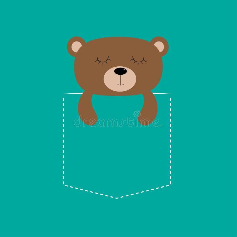 Niedźwiadkowy dosypianie w kieszeni Śliczny postać z kreskówki Junakowanie linia Lasowa zwierzęca kolekcja tła czerń zakończenia  ilustracji