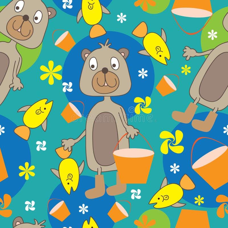niedźwiadkowy eps połowu wzór bezszwowy ilustracja wektor